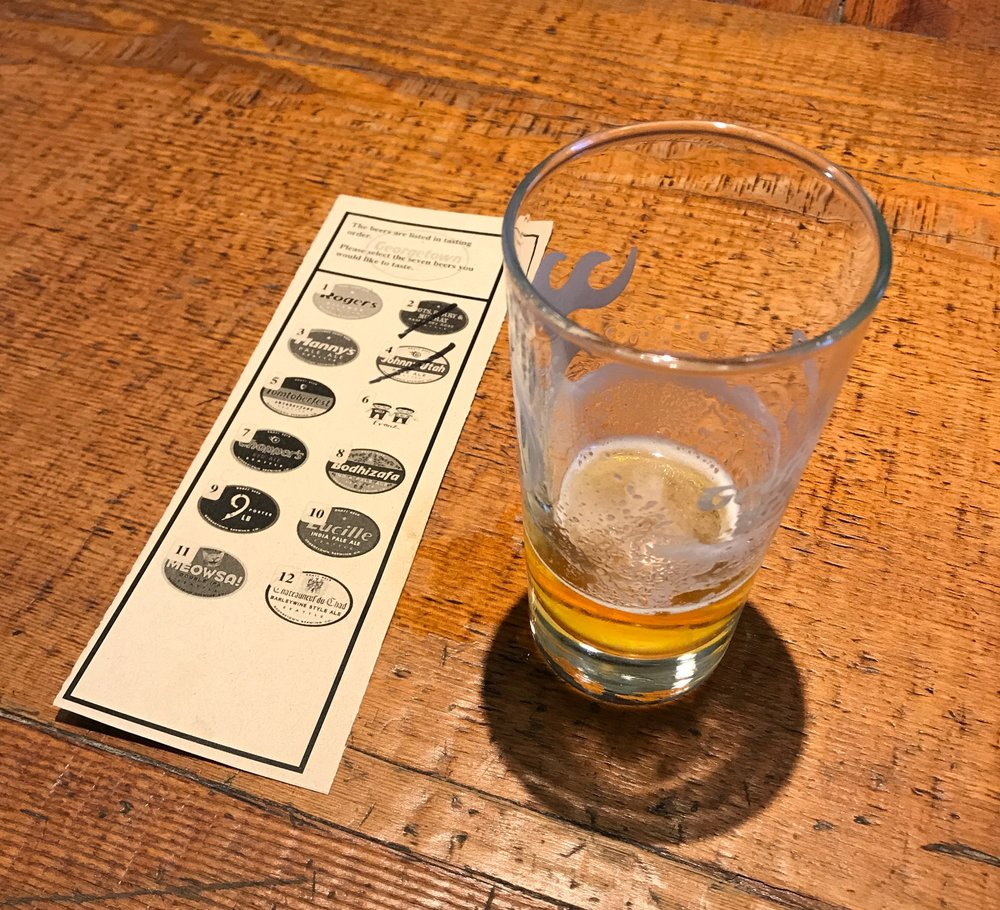 The brewers checklist and drinking order chart