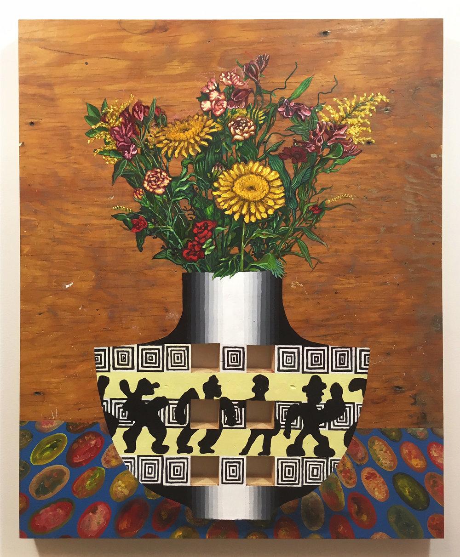Bouquet dans un vase , 29x35 po., 2016.