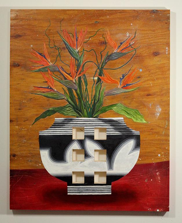 Oiseaux de paradis dans un vase, 29x35 po., 2016.