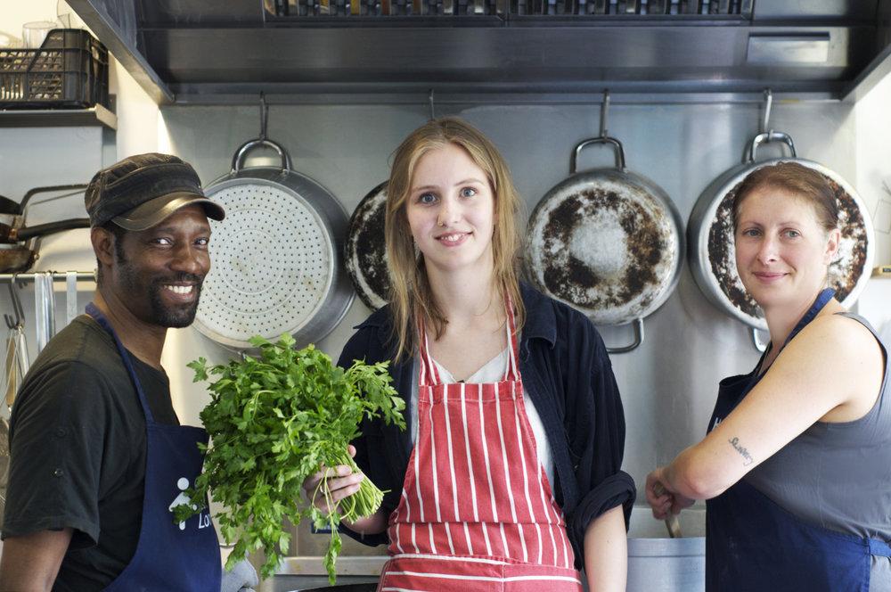 Headway member Keith, volunteer Jade and chef Kate
