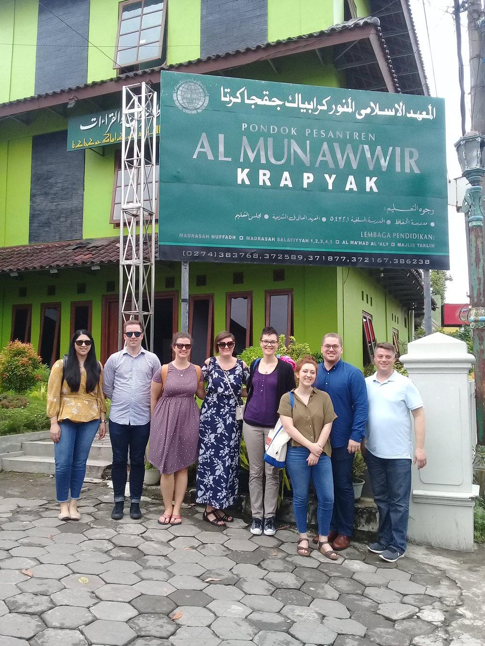 The visiting scholars at Pondok Pesantren (Islamic Boarding School) Al-Munawwir in Yogyakarta. The visitors helped lead discussions on Moderate Islam, Islam in Politics, and Islam & Gender.