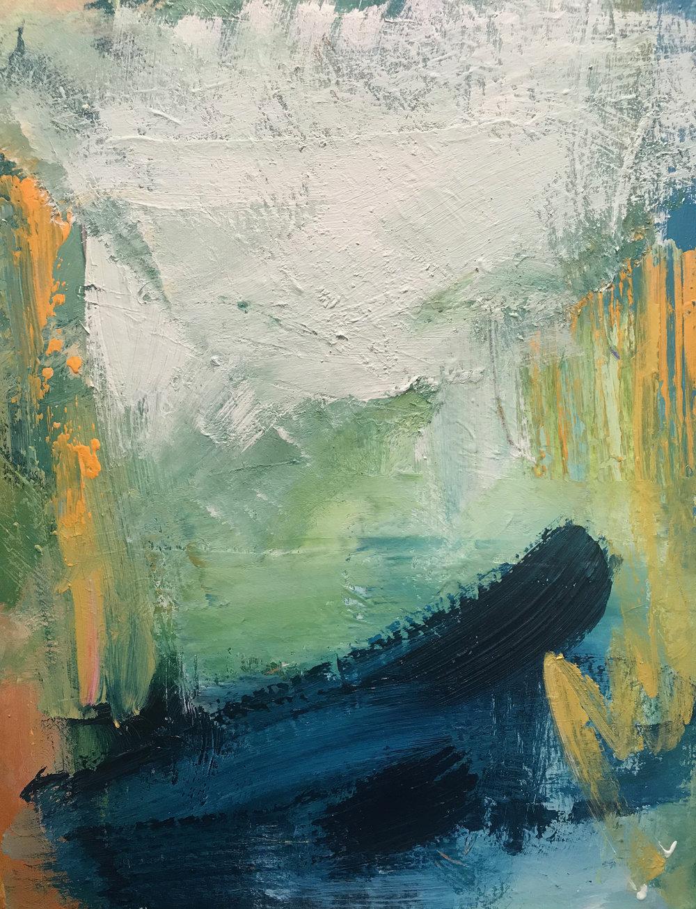 18 x 20 Acrylic and mixed media on canvas.