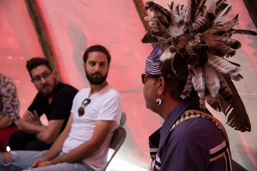 George Kennedy sharing his knowledge on Wampum Belts in ANDPVA's tipi at the IRSS Legacy Event (https://irsslegacy.com)