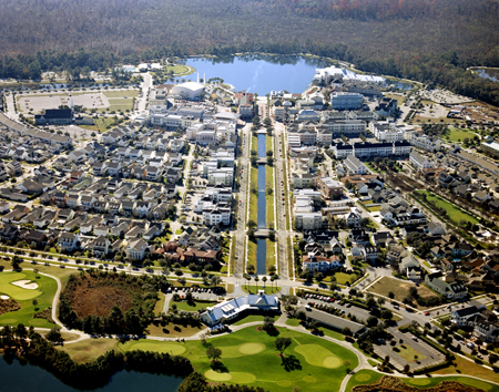 Aerial Photo of Celebration Village Looking from Celebration Golf Course to Downtown Celebration