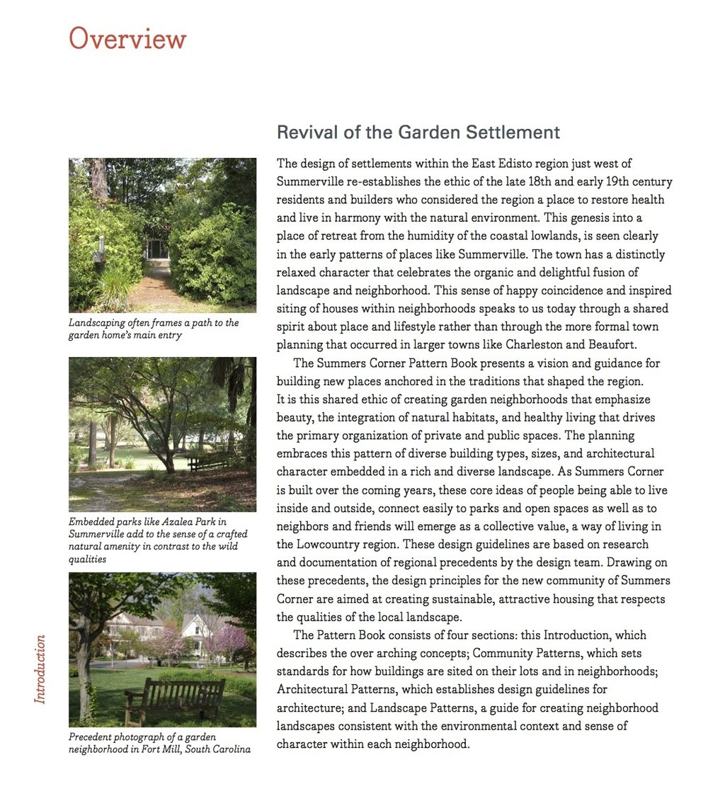 Excerpt From Summers Corner Pattern Book explaining the vision for the community.