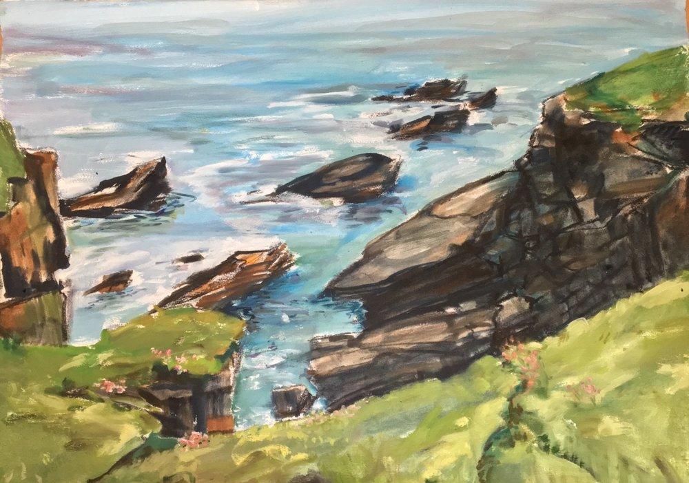 Scotland: Collieston Coastal Walk, Line of Small Stacks