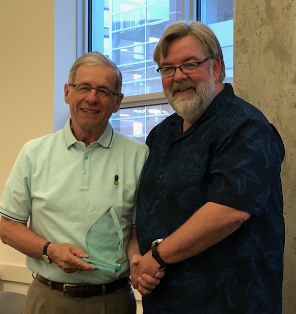 Presenting the Award on behalf of the Council is one of the original Founder's award recipients, Randy Ellingson, Principal and Owner of Wellington College of Remedial Massage Therapies in Winnipeg.