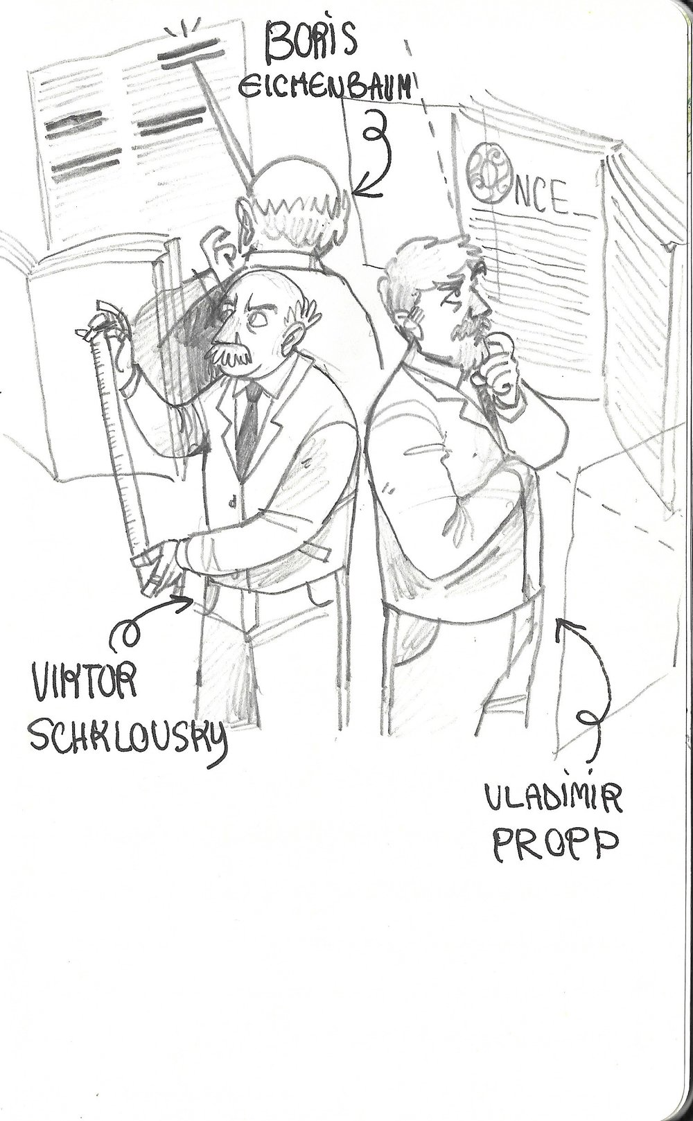 Illustration of the key members of the Russian Formalist literary criticism school, who had brought significant contributions to narrative theory.