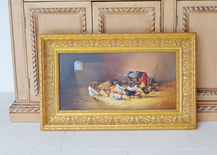 The photo was taken in the bright sunny day on the patio. But the photo was taken in the shaded area without direct sun light hitting the painting. There is no shadow on the frame and on the photo, and this is much better presentation of the painting than the photo taken under direct sun light.