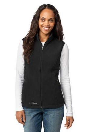 Eddie Bauer® Ladies Fleece Vest   Princess seams, reverse coil dyed-to-match zippers, front zippered pockets with tricot lining, binding at armholes and an open hem. Contrast Eddie Bauer ® logo embroidered on right hem. Made of 12-ounce, 100% polyester fleece which incorporates Low Impact Technology for enhanced softness and performance.  Sizes XS - 4XL.  Price: $55.00