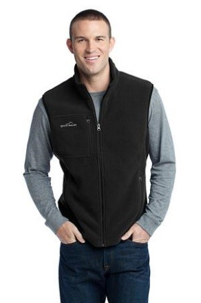 Eddie Bauer® Men's Fleece Vest   Contrast rolled top collar, reverse coil contrast zippers, front zippered pockets with tricot lining, binding at armholes and an open hem. Contrast Eddie Bauer ® logo embroidered on right chest. Made of 12-ounce, 100% polyester fleece which incorporates Low Impact Technology for enhanced softness and performance.  Sizes: XS-4XL.  Price: $55.00