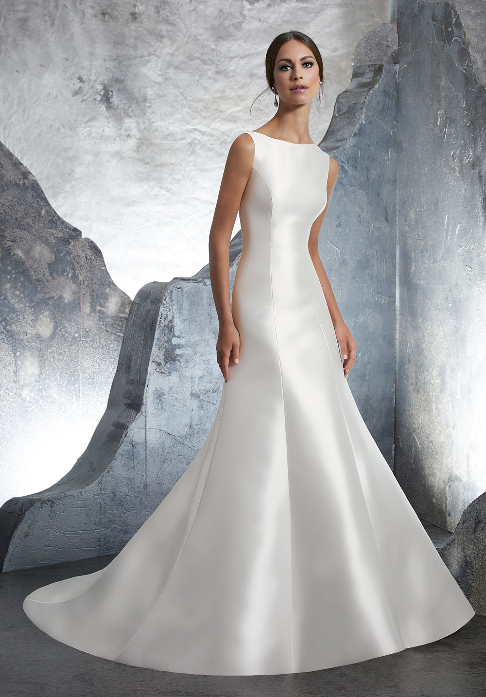 4b9e14843cc2 This A-line Marcella satin gown features a stunning high neckline, and a  modern square-cut low back. If you're feeling a little ...