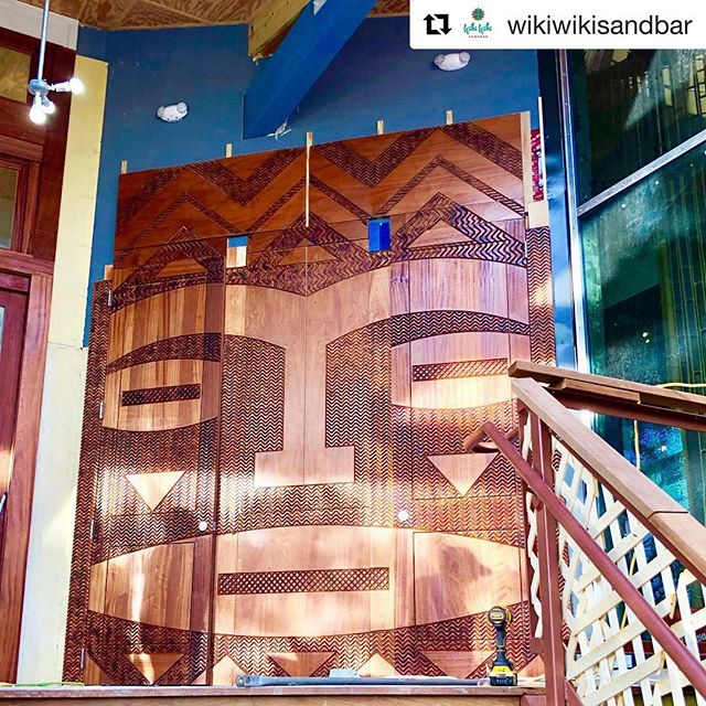 Aloha 🤙🏼🏝 // The doors have been installed! We are so proud of this project with @wikiwikisandbar and can't wait to check out the restaurant when it opens.  #repost #openingsoon #new #restaurant #follybeach #charleston #alohayall #wikiwiki #sandbar #routed #doors #woodworking #enter