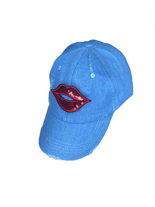 8d781a86e01 Lips Patch Denim Distressed Dad Hat Adjustable Baseball Cap Unconstructed  (Unisex)