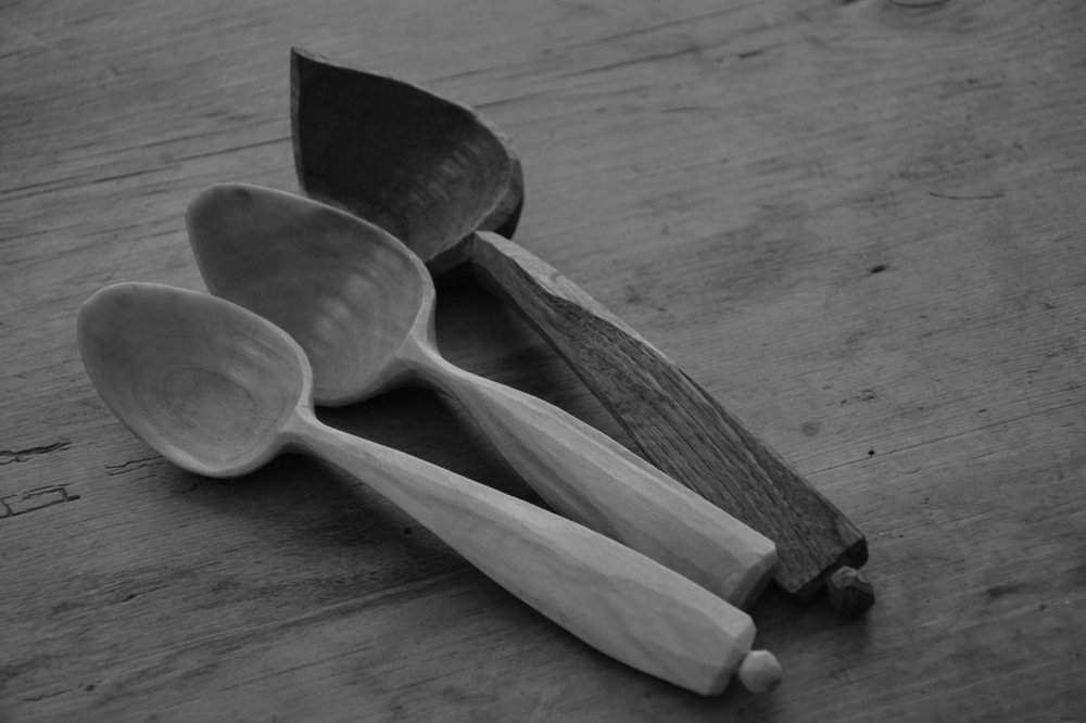 Walnut and Birch eating spoons