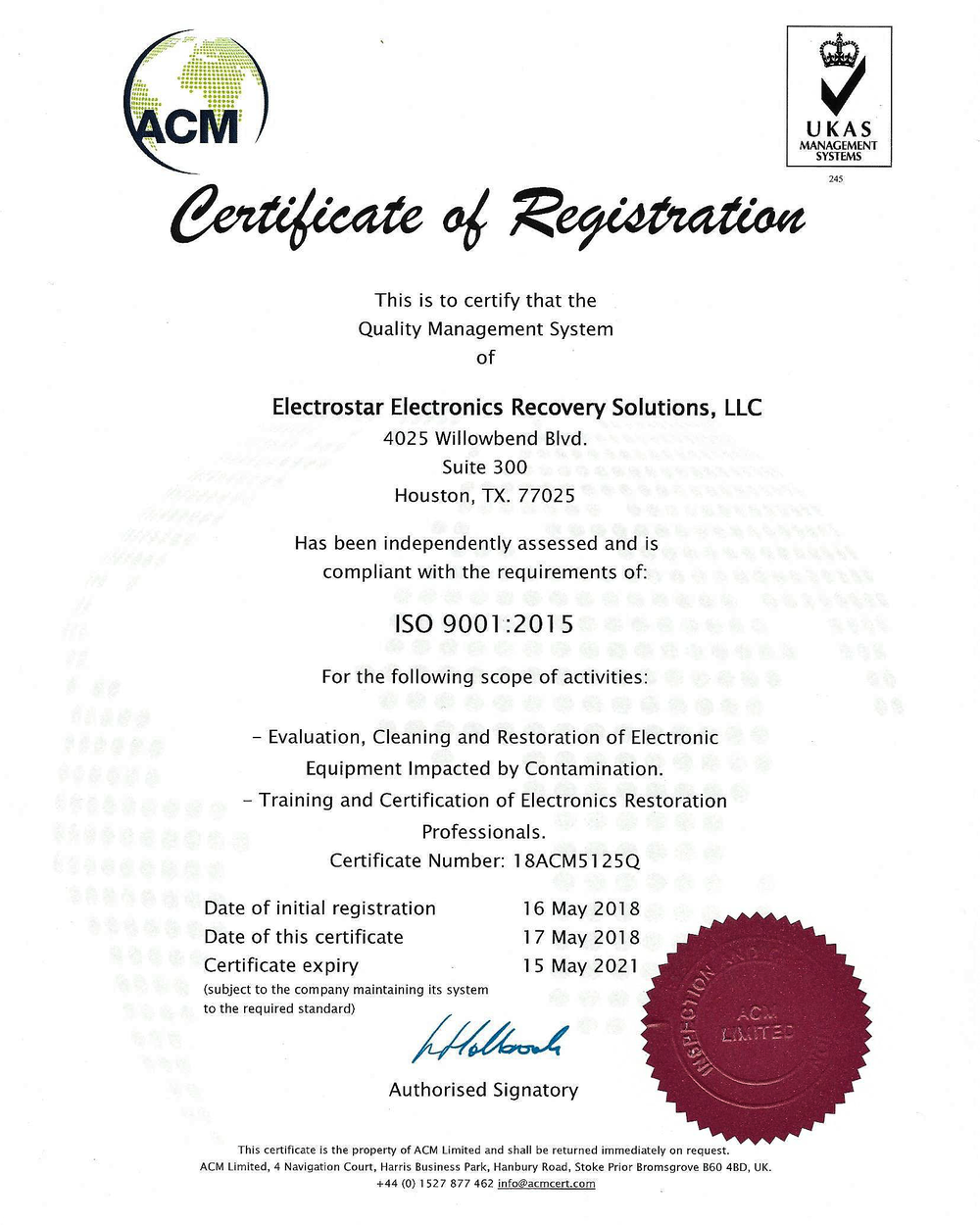 ElectroStar Approved Certificate.png