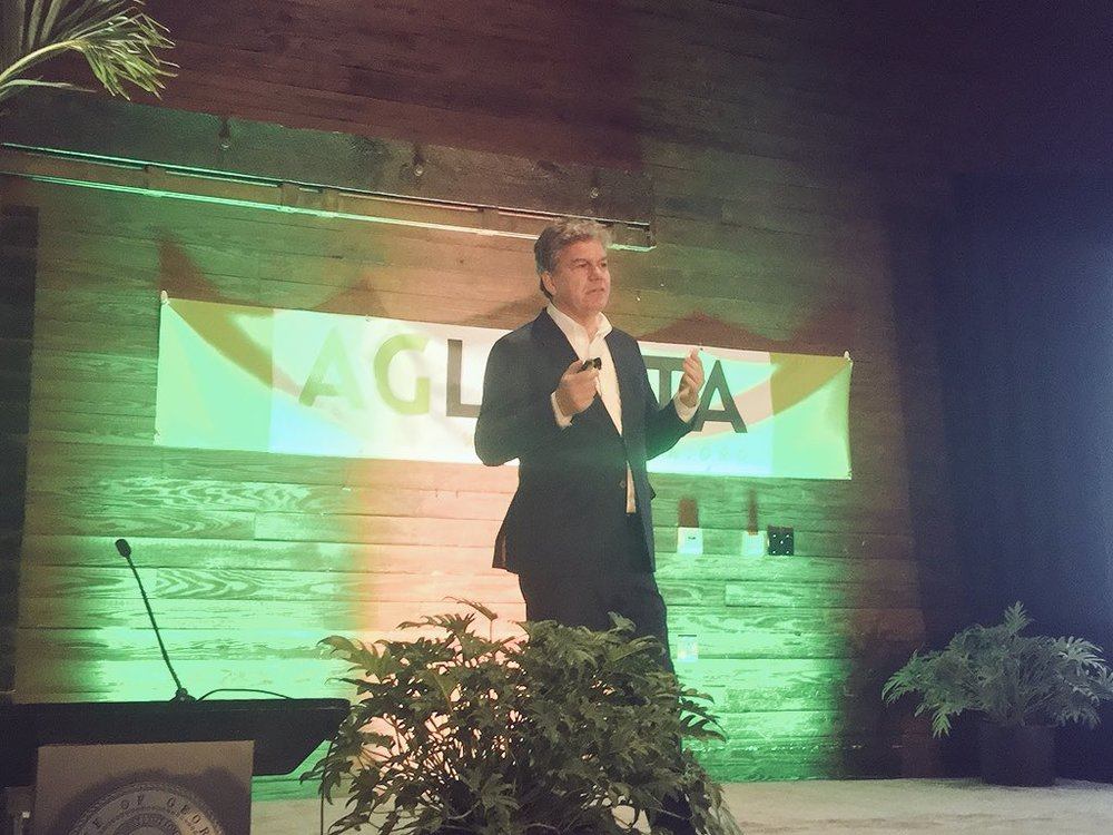 Farmers Cut Co-Founder Mark Korzilius at The AgLanta Conference, where Mark first publicly revealed the company's proprietary growing substrate.