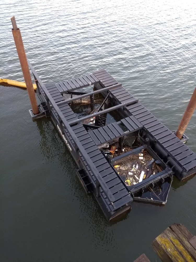 The Recycled Island Foundation spent 1.5 years developing floating litter traps to harvest debris from Rotterdam's river.