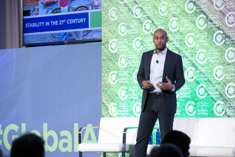 Hello Tractor's Founder, Jehiel Oliver, speaks at the 2017 Global Food Security Symposium in Washington, DC. (PHOTO: HELLO TRACTOR)