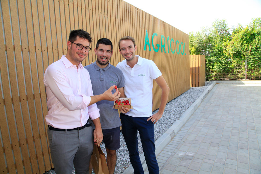 Agricool's new shipping container farm located in The Sustainable City just outside of Dubai. From left to right: Georges Beaudoin (International Operations Manager at Agricool), Stefan Klincov (Farm Manager at Agricool UAE), and Guillaume Fourdinier (Co-Founder & CEO of Agricool).