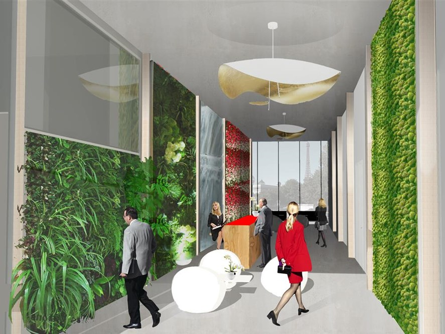 The hotel's vertical cultures would include mushrooms, tomatoes, eggplant, melons, lettuce, strawberries, and grapes.