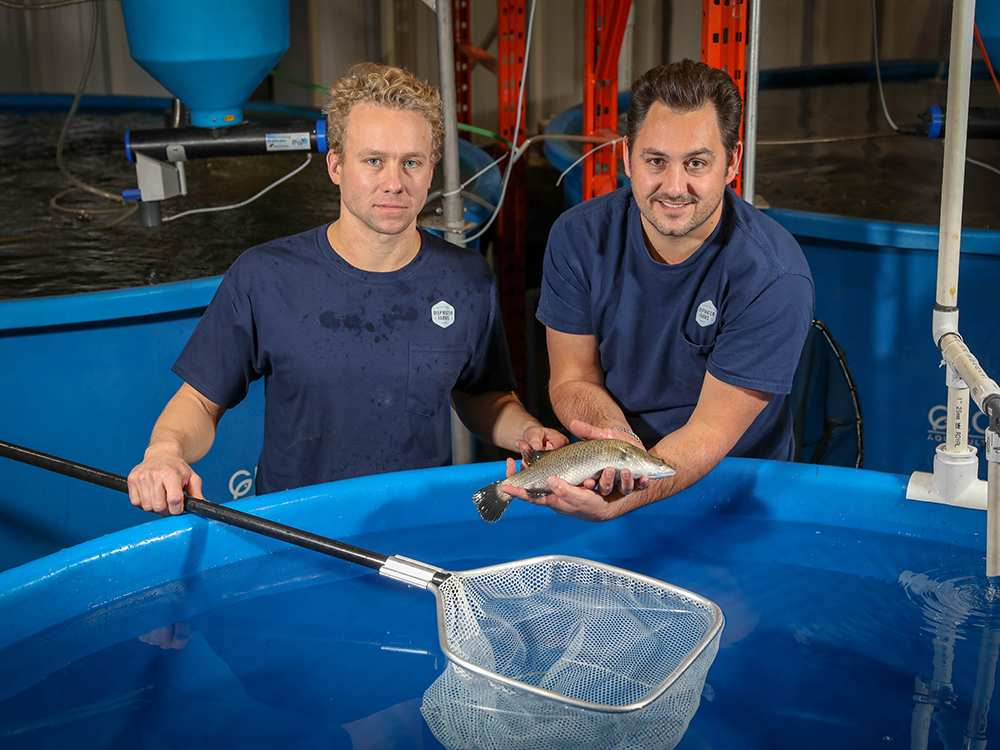 Reid Henuset and Paul Shumlich of Deepwater Farms in Calgary's first commercial aquaponics farm.  AL CHAREST/POSTMEDIA