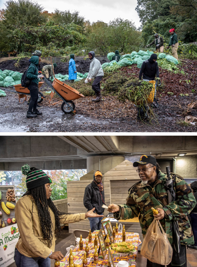 Top: The Gangstas to Growers cohort working at the Truly Living Well farm. Bottom: Selling hot sauce at College Park Station. | Mark Peterson/ Redux Pictures for Politico Magazine