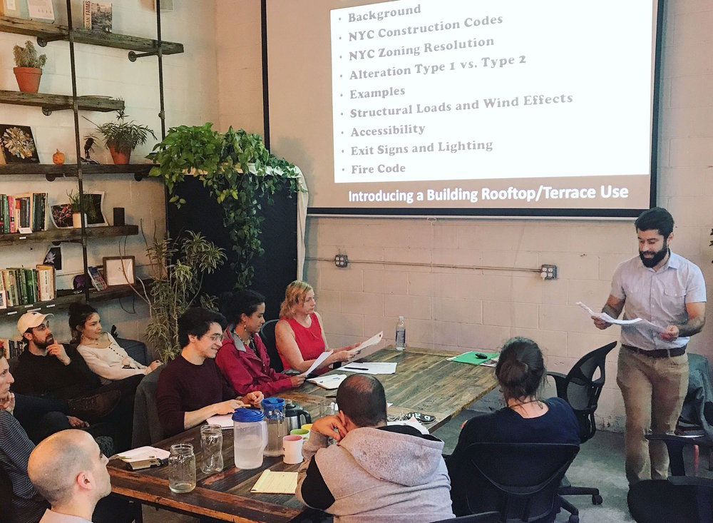 Eugene teaching his  Building The Rooftop Farm  course at the Agritecture and AgTech X headquarters in Brooklyn.