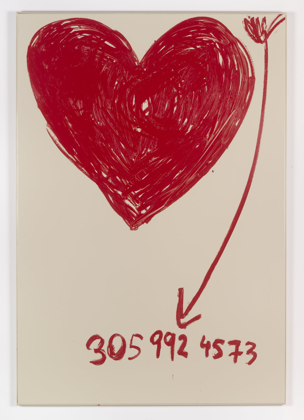 Jennifer Rubell,  Big Floating Heart with Arrow , 2018, oil stick on bathroom partition, 58 x 40 inches