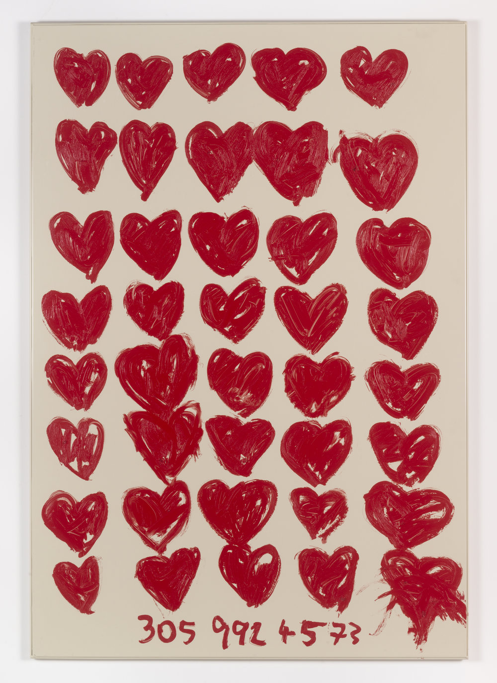 Jennifer Rubell,  40 Hearts , 2018, oil stick on bathroom partition, 58 x 40 inches