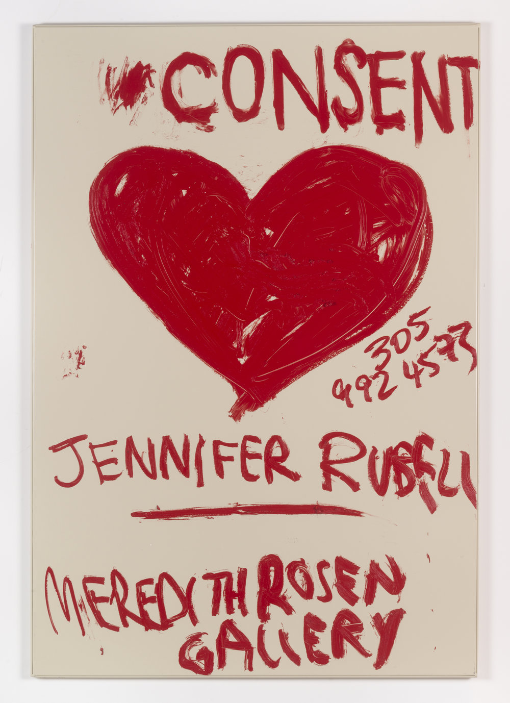 Jennifer Rubell,  Consent , 2018, oil stick on bathroom partition, 58 x 40 inches