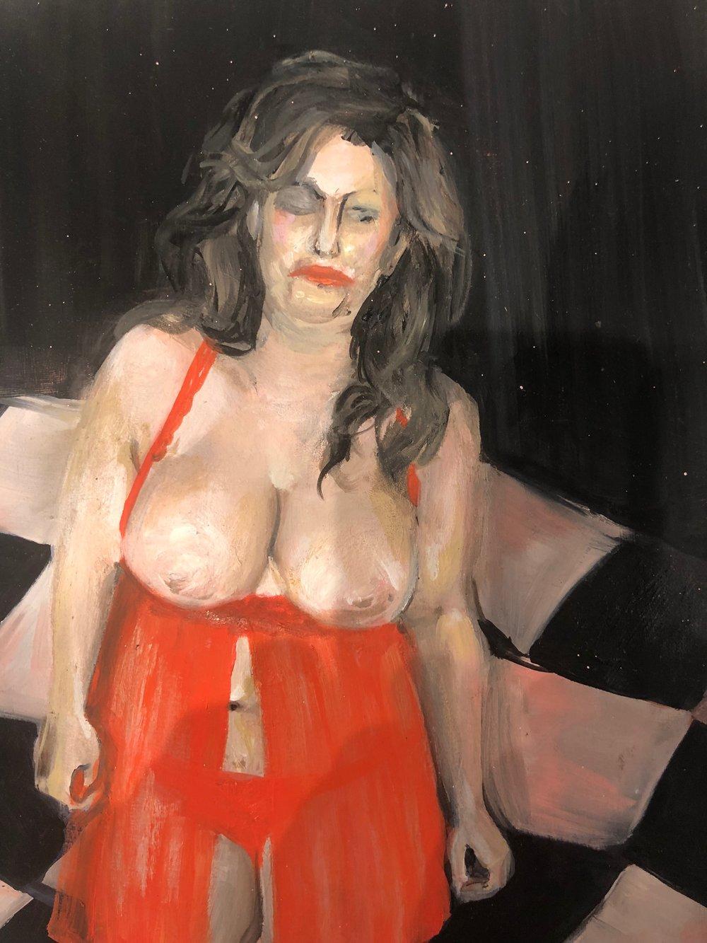 Lara Nasser, Lump , 2018, oil on panel, 10 x 8 inches