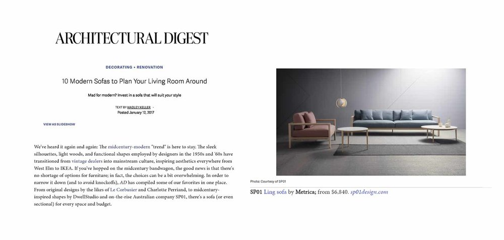 Architectural Digest (US), January 2017,  read the story here.