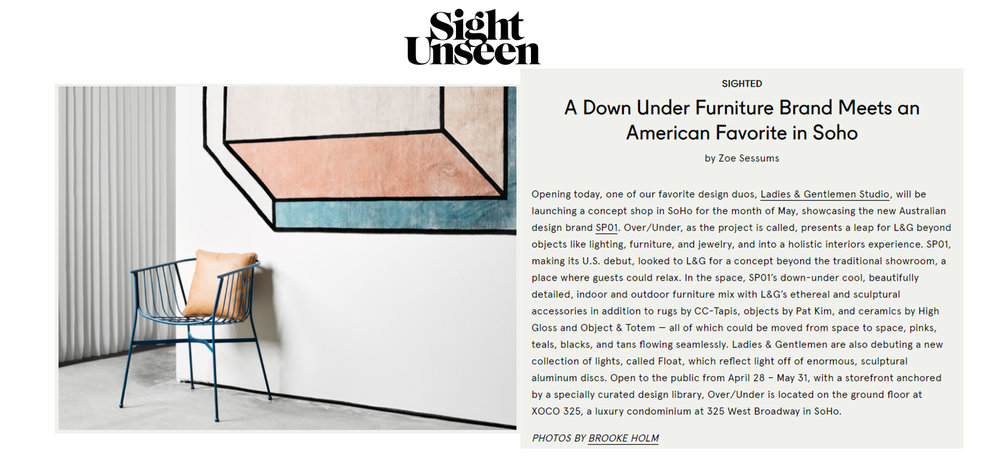 Sight Unseen (US), May 2017,  read the story here.