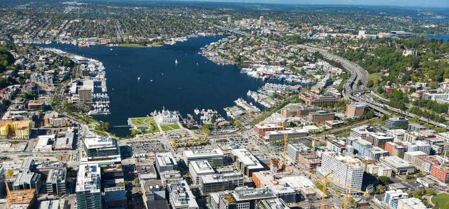 Aerial view of South Lake Union. Building E just out of view on bottom left.