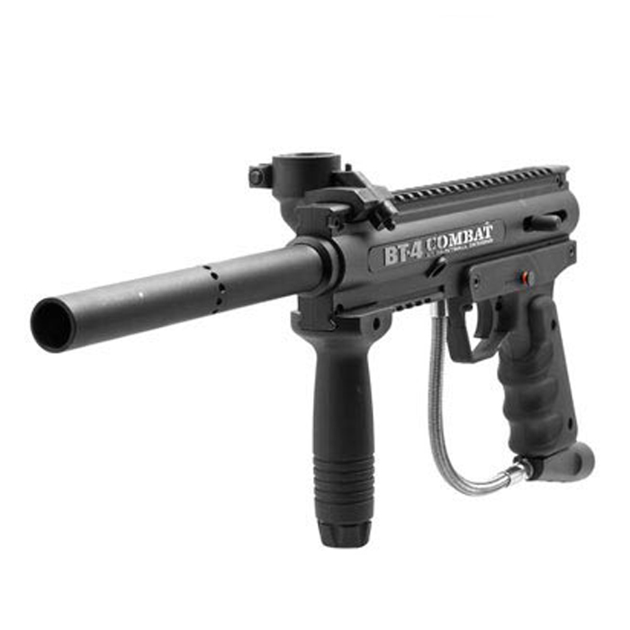 Bush master - The BT 4 Combat paintball gun is a battle tested workhorse. Light weight and with a high ammo capacity, get lost in our field with enough ammo to fight your way out.Range: 40m, Power: Medium, Capacity: 200 rounds, Gas: CO2, Weight: low