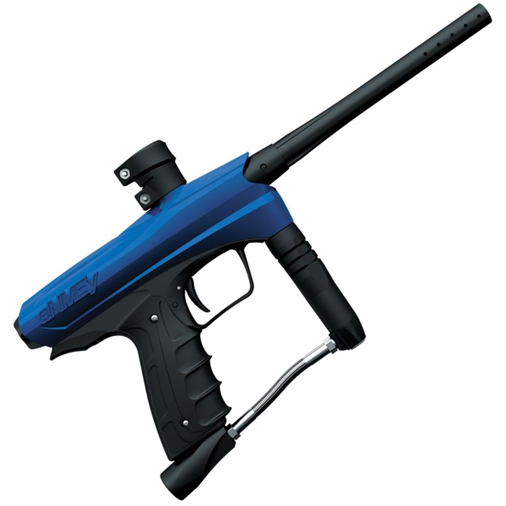 Kids reduced impact guns - They look the same as the adult guns but altered internals mean they shoot a smaller paintball at a slower speed, reducing the impact energy to 1/10 the energy of a standard paintball. The semi-automatic function means that there is no difficulty