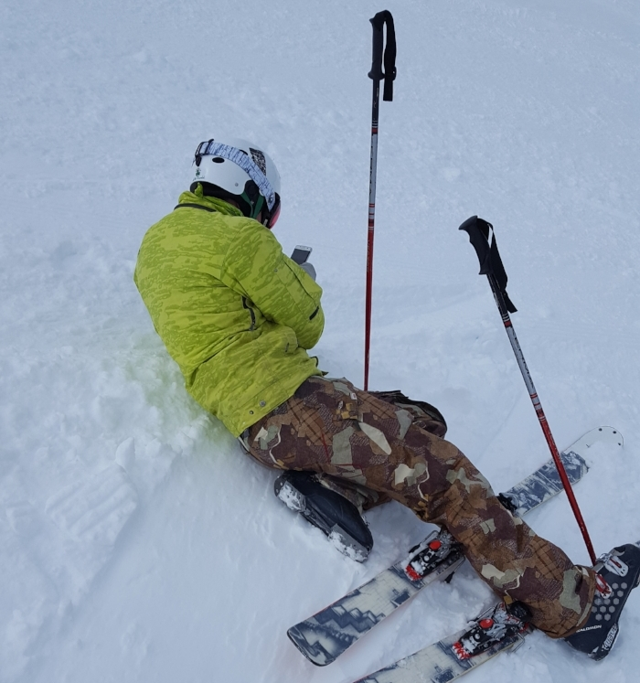 Always working and never working, Richard Renfrew answers his phone whilst skiing and takes a booking.