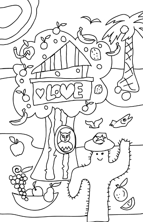 Love Shack Tree House Mural