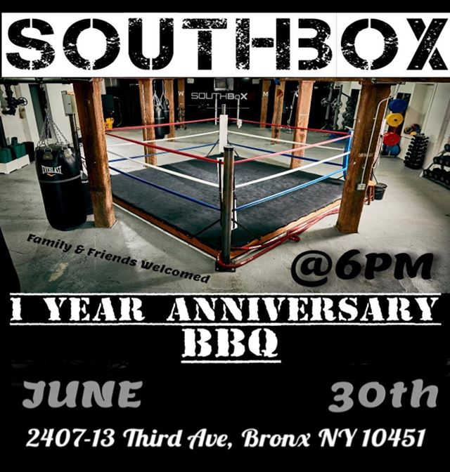 🗣 Join us this upcoming Saturday, celebrating our First Year Anniversary! 4pm-9:30!! 🍾 *  Everyone is welcomed! Bring Family/Friends and enjoy some Free food, Join a fun raffle, music & free drinks 🔥🔥 * Gym will be open regular hours on Saturday.* #SouthBoXGym #BBQ #1YearAnniversary #FreeFood #Hardworkwork #SouthBronx #BringFamilyandFriends #Saturday