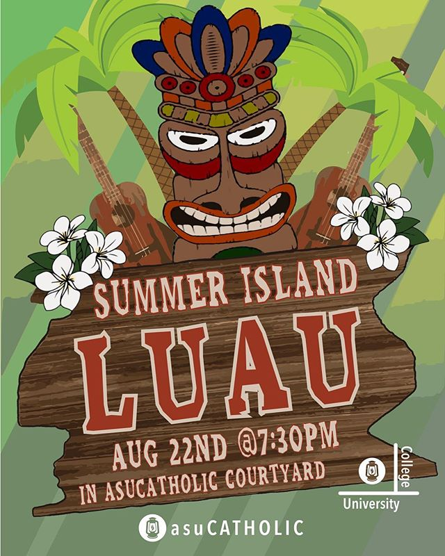 Welcome back students! Join us for our Summer Island Luau🏝🗿tomorrow at 7:30pm! (Aug. 22nd) Come have fun with friends and meet new people. Like always there's free food😋 There's even a shaved ice truck!!❄️