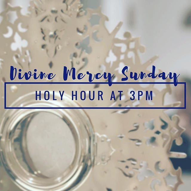 Tomorrow is Divine Mercy Sunday! All are invited to joins us for a Holy Hour at 3pm in the Main Chapel.  #asucatholic #divinemercysunday #divinemercy