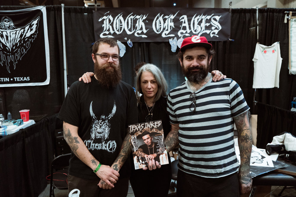 Rock of Ages artists gather to hold up the latest copy of Texas Inked Magazine, No. 08: The Black Issue, where you will find work from all three inside! (From L to R, Keenan Bouchard, Katja Ramirez, Thomas Hooper)