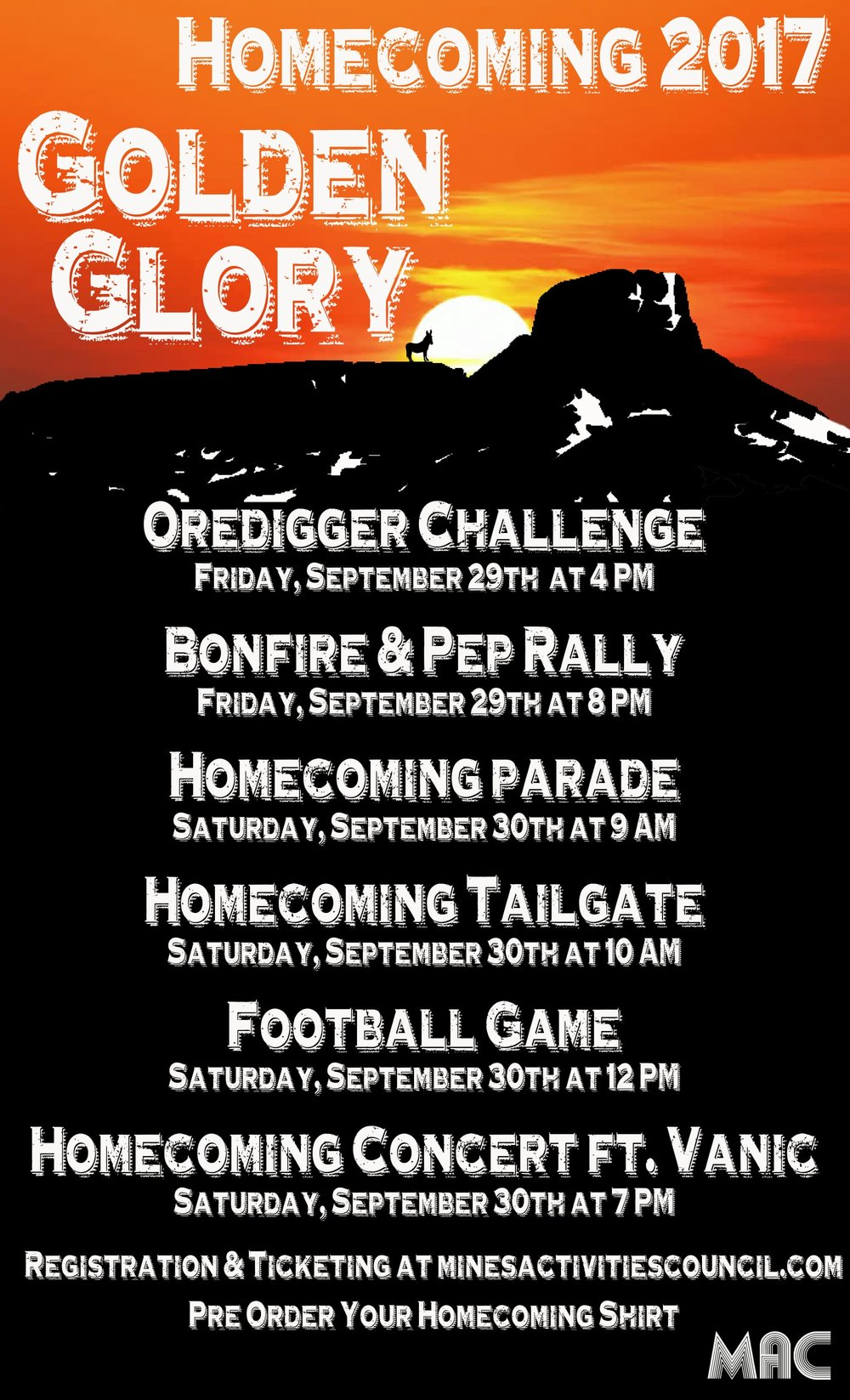 Come join all of Greek Life and Mines in celebrating Homecoming this week!