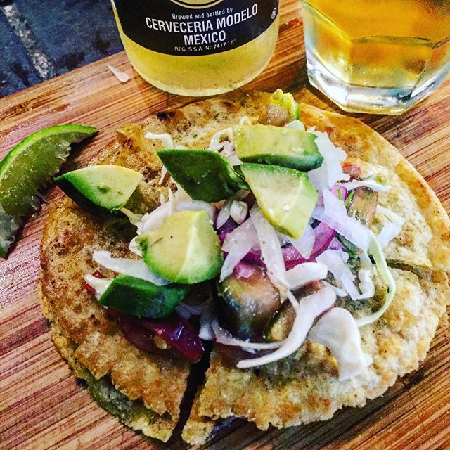 BLT quesadilla.  With cabbage/tomato cordillio.  Plus an adult beverage.  Mrs Pelón missed out on the tacos al pastor.  I had to make amends.