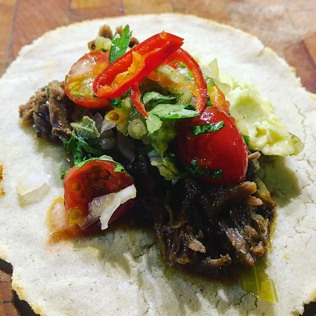 Beef barbacoa with pico de gallo made with pickled grape tomatoes spiked with cayenne chili slice. (Since we will be serving this in the winter I have to stock up @plowandstarsfarm grape tomatoes.) #tacos #gringotacos #dceats