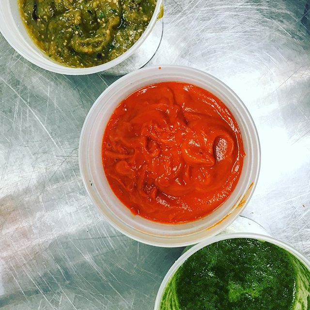 Roasted salsa verde. Salsa roja.  Mole verde.  #gringotacos #dceats #practice. Thanks to @plowandstarsfarm for all the chilis and tomatillos