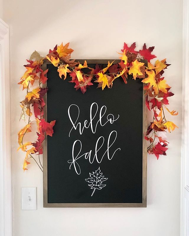 "A little late to the ""Fall"" game but I love this little chalkboard in our kitchen nook! Now to find a cute piece of furniture to go underneath 🤔"
