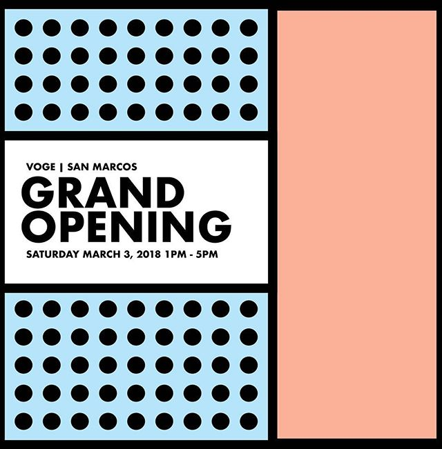 THE DAY IS ALMOST HERE! The Grand Opening of Voge San Marcos! Come party with us this Saturday from 1PM - 5PM and receive 20% off the ENTIRE STORE! We'll also have loads of Voge Goodies! as well as, prizes from some of your fav San Marcos spots, @chimyssanmarcos & @crafthousetx 🎊 #shopvoge #vogemarcos #vogeparty #grandopening #party #sanmarcos @localsanmarcos