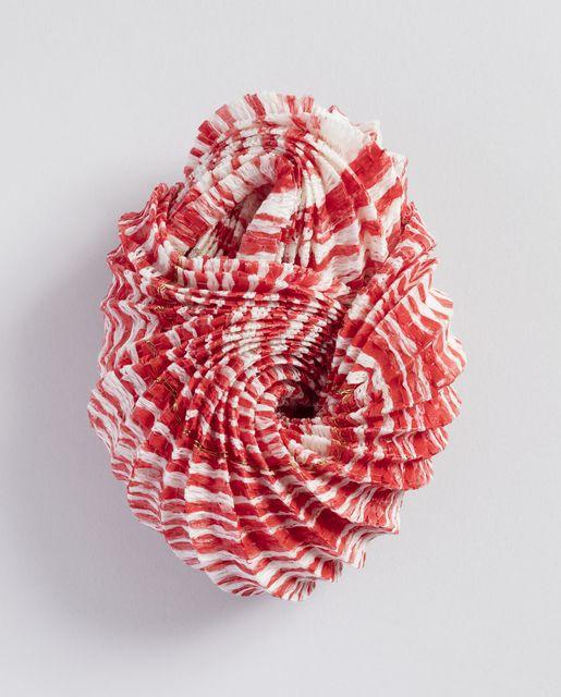 Brooch, 2015. Designed by Kazumi Nagano. - Folded linen paper, nylon thread, gold wire, silver.